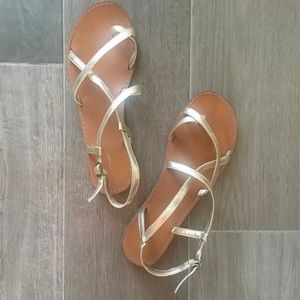 Old navy gold strap sandals for women